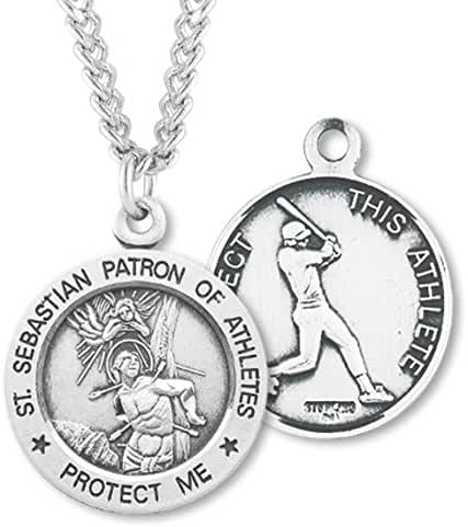 Men's Sterling Silver Round Saint Sebastian Baseball Medal + 24 Inch Endless Rhodium Plated Chain
