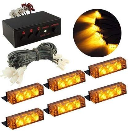 Meccion 12V LED luz de advertencia estroboscópica 18 LEDs de ...