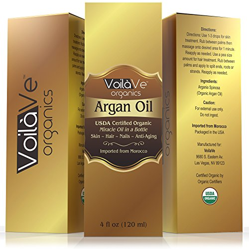 VoilaVe Virgin Organic Argan Oil For Hair Face 4 Fl Oz USDA ECOCERT Certified Organic Cold Pressed Pure Moroccan Argan Oil Miracle Beauty Oil For Skin Hair Nails Convenient Pump Bottle