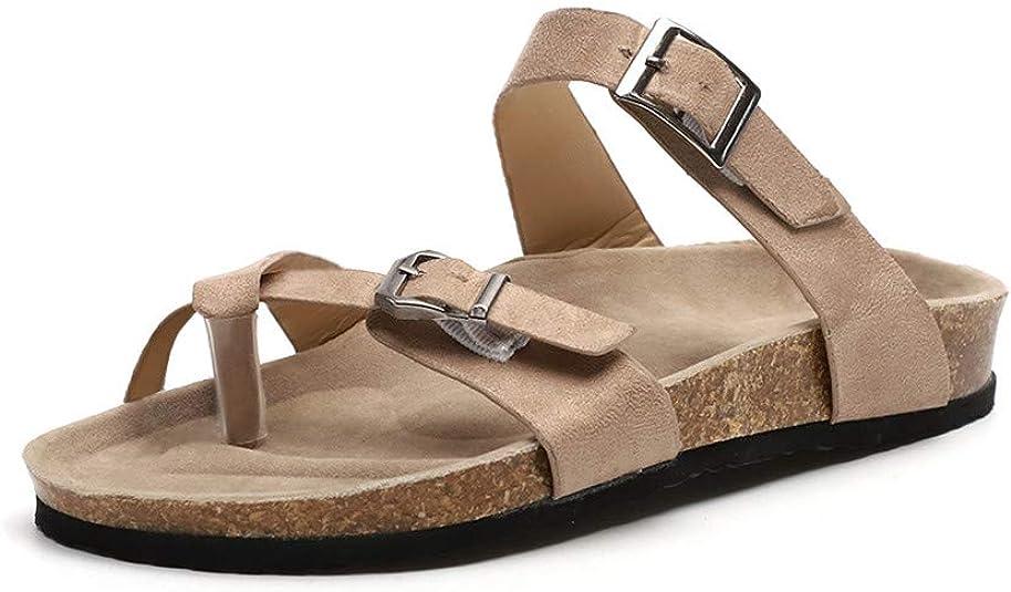 Sandalias Mujer Tacon Cuña Chanclas Cruzar Correa Verano Zapatos de Playa Romanas Plano Mulas Hebilla Caqui EU37: Amazon.es: Zapatos y complementos