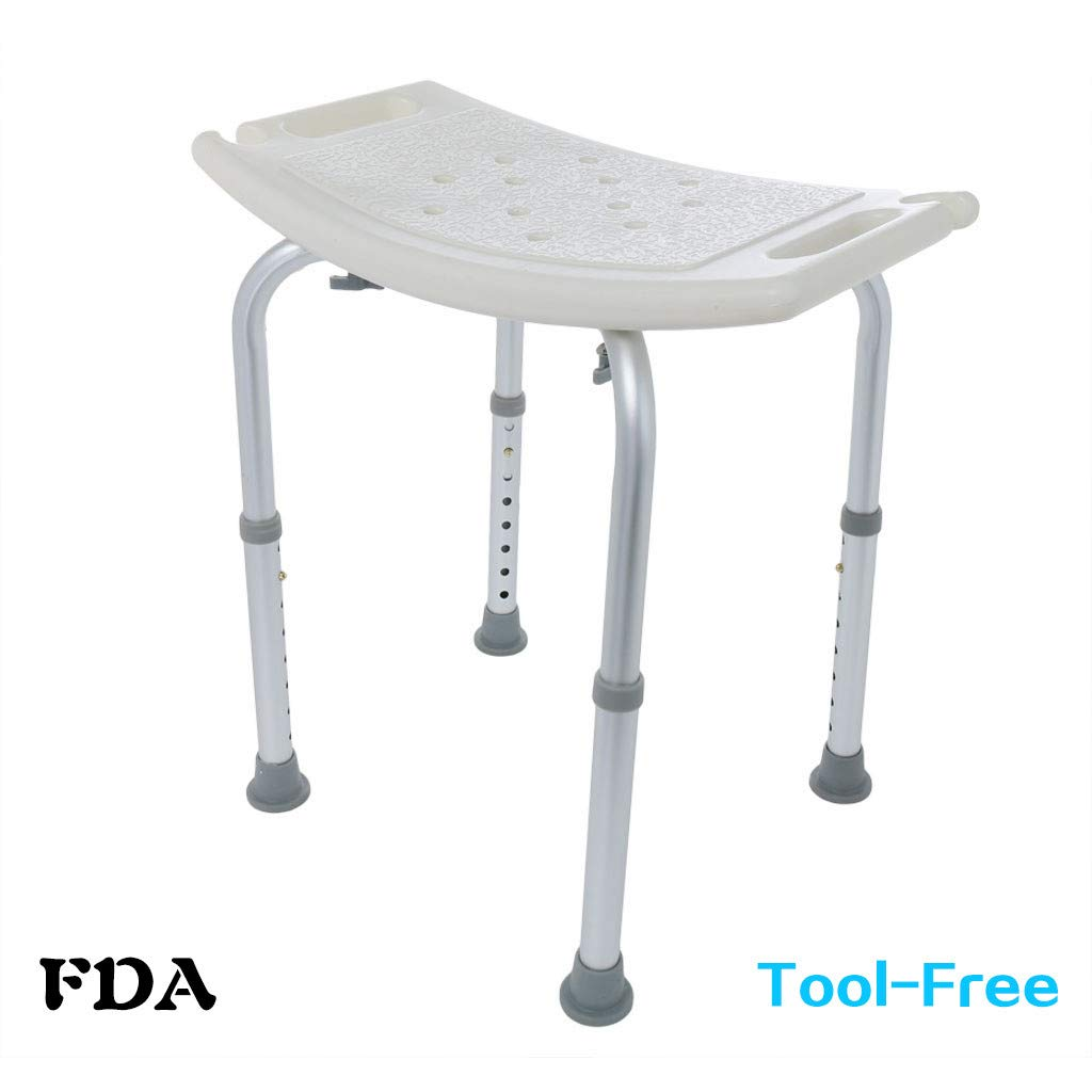 Cibee Shower Chair, Adjustable Height 15-22 in, Slip-resistant Spa Bathtub Seat, Heavy Duty Medical Tool Bath Bench Stool for Elderly Handicap Seniors & Disabled (B)