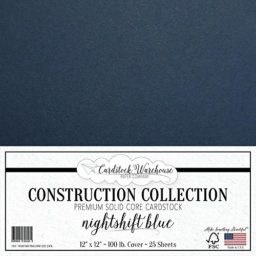 NIGHTSHIFT BLUE/DARK NAVY BLUE Cardstock Paper - 12 x 12 inch PREMIUM 100 LB. COVER from - 25 Sheets from Cardstock Warehouse