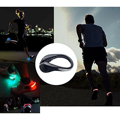 TEQIN Black Shell Colorful LED Flash Shoe Safety Clip Lights for Runners & Night Running Gear - Reflective Running Gear for Running, Jogging, Walking, Spinning or Biking + Velvet Bag - (Set of 2) by TEQIN (Image #6)