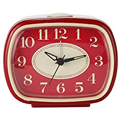 Lily's Home Quiet Non-ticking Silent Quartz Vintage/Retro Inspired Analog Alarm Clock (Red)