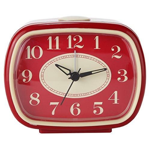 Lily's Home Quiet Non-Ticking Silent Quartz Vintage/Retro Inspired Analog Alarm Clock (Red)