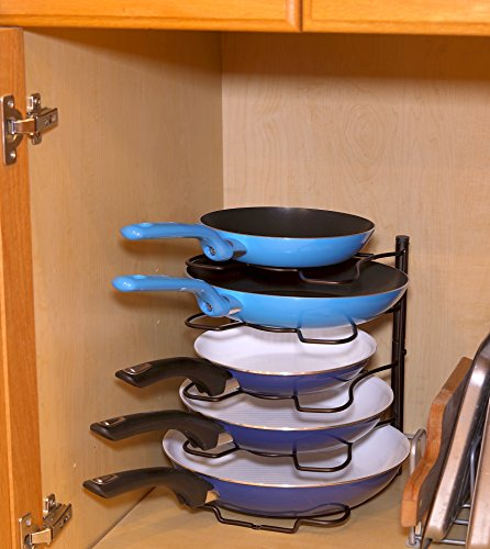 SimpleHouseware Kitchen Cabinet Pantry Pan and Pot Lid Organizer Rack Holder, Bronze