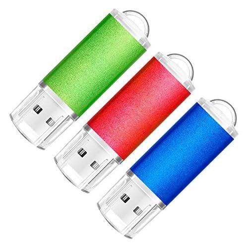 SumDuta 3 Pack 32GB USB 2.0 Flash Drive Thumb Drives Memory Stick Jump Drive Zip Drive, 3 Colors: Blue Red Green