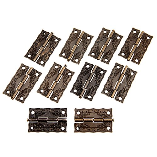 Dophee 10Pcs 36x23mm Antique Embossing Hinges Wooden Furniture Jewelry Box Hardware Cupboard Wardrobe Hinges