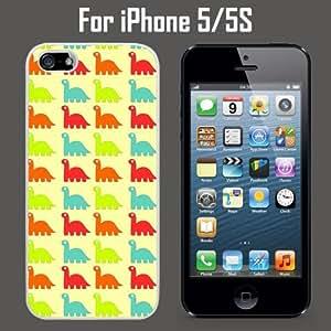 Cute Dinosaur Pattern Custom Case/ Cover/Skin *NEW* Case for Apple iPhone 5/5S - White - Rubber Case (Ships from CA) Custom Protective Case , Design Case-ATT Verizon T-mobile Sprint ,Friendly Packaging - Slim Case