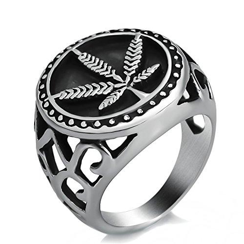 Elfasio Mens Boys Stainless Steel Ring Weed Marijuana Cannabis Leaf Symbol Jewelry Size 11