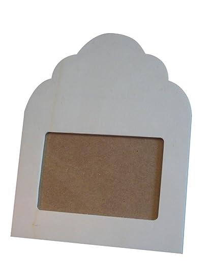 Marco madera de fotos con copete de ondas pequeño. En crudo, para decorar.