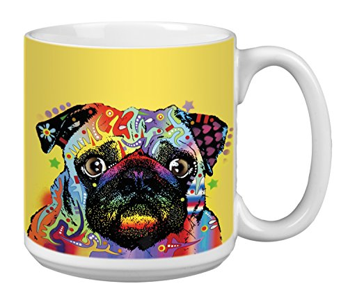 Pug Dog Extra Large Mug, 20-Ounce Jumbo Ceramic Coffee Cup, Puglorious Themed Dean Russo Pet Art - Gift for Puppy Lovers (XM63194) Tree-Free Greetings