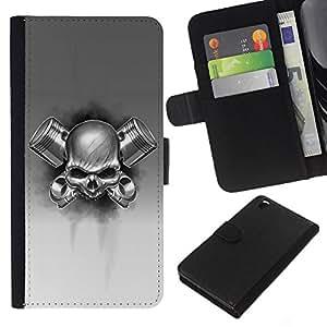 KLONGSHOP // Tirón de la caja Cartera de cuero con ranuras para tarjetas - gas cráneo metal blanco negro roca de la muerte - HTC DESIRE 816 //