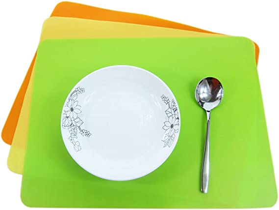 Coffee Lesirit 15.7x11.8 Thin Waterproof Non Slip Silicone Kids Placemat Pack of 4