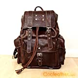 Handmade Extra Large Brown Leather Hiking Backpack, 23 Liters Travel Knapsack