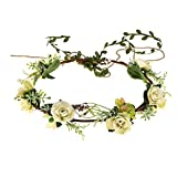 Love Sweety Succulent Flower Crown Eucalyptus Halo Wedding Floral Headband Photo Prop (White Rose Tail)