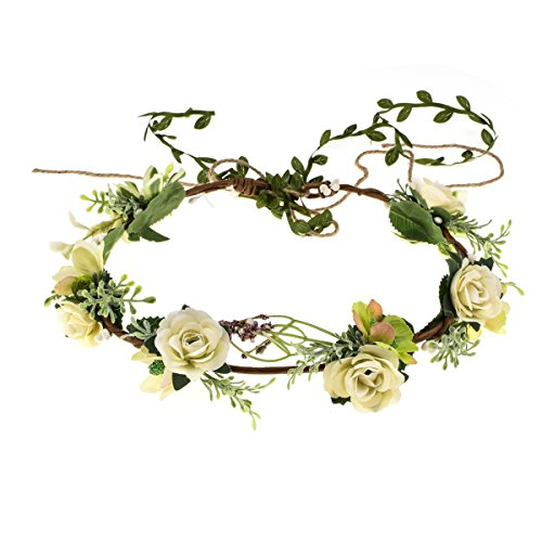 Love Sweety Succulent Flower Crown Eucalyptus Halo Wedding Floral Headband Photo Prop (White Rose Tail) ()