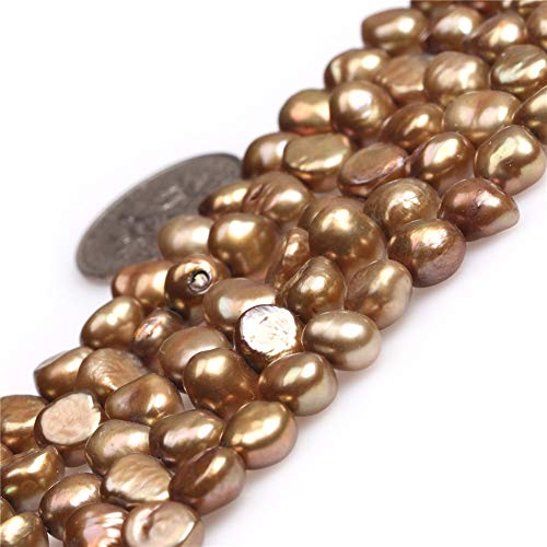 Freshwater Cultured Pearl Beads for Jewelry Making Gemstone Semi Precious 6-7mm Freeform Brown 15