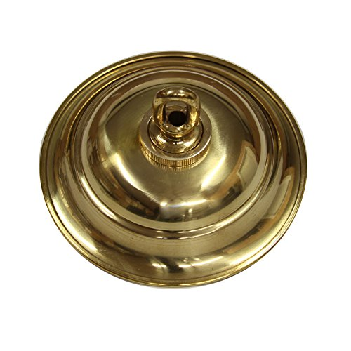 (RCH Hardware Solid Brass Decorative Round Ceiling Canopy Medallion Accent for Chandeliers and Pendant Lighting with Matching Screw Collar and Loop (Polished Brass))