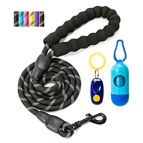 YiPet 5 ft Heavy Duty Dog Leash Comfortable Padded Handle Highly Reflective Threads for Medium Large Dogs, Black