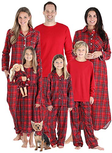 SleepytimePjs Holiday Family Matching PJs Sets, Kids Lounge Set W/ Red Plaid, Youth 8 (For Women Nightgowns Christmas)