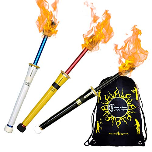 Freaks Vinyl Firestorm FIRE Juggling Torch + Travel Bag! Pro Torches for Fire Juggling.Price Per Torch (Black)