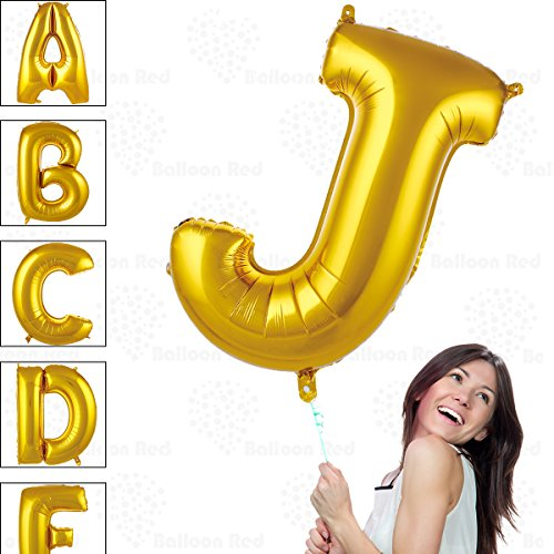40 Inch Giant Jumbo Helium Glossy Gold Foil Mylar Balloons for Party Decorations, Letter J - Premium Quality, Durable & Reusable - Custom Messages - Graduation, Birthday, Anniversary, Bridal Shower -