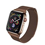 HILIMNY Compatible for Apple Watch Band 38mm 40mm 42mm 44mm, Stainless Steel Mesh Milanese Sport Wristband Loop with Adjustable Magnet Clasp for iWatch Series 1/2/3/4,Brown