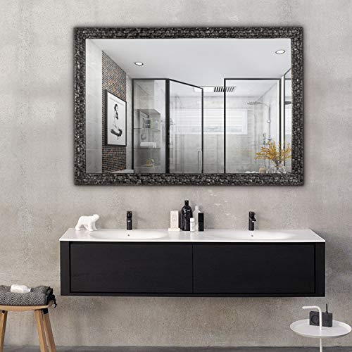 Hans&Alice Beveled Bathroom Mirrors Wall Mounted, Antique Black Frame Mirror for Bathroom, -