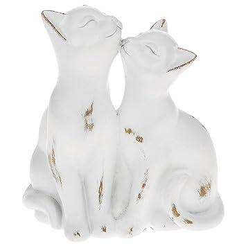 Blanco diseño de gato - Figura decorativa de gatos besándose, - 65592: Amazon.es: Hogar