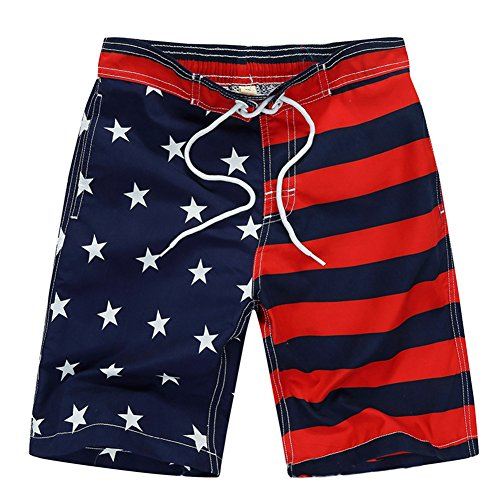 Aulase Kids Boys Classic American Flag Swim Trunks Drawstring Stripe Boardshorts Navy L ()