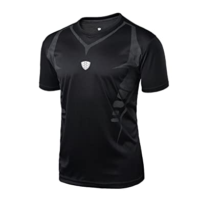 cbe793d8dea Amazon.com  Sumen Mens Running Yoga Athletic Shirt for Gym Workout Cool Dry  Skin Fit Tops  Clothing