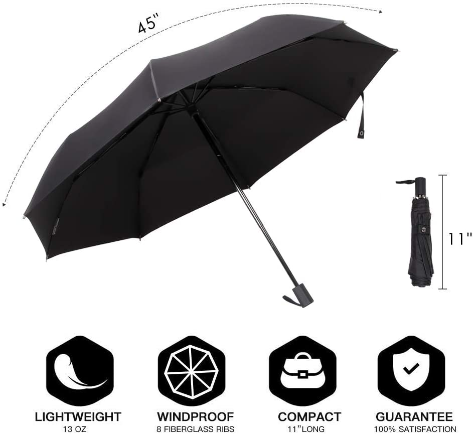 SANNII Folding Umbrella Windproof Travel Lightweight Compact Umbrella with 210T Fast Drying Coating Easy-Carrying Case and Slip-Proof Handle,Internalvinyl