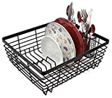 ESYLIFE Kitchen Dish Drainer Drying Rack with Full-Mesh Silverware Storage Basket, Black