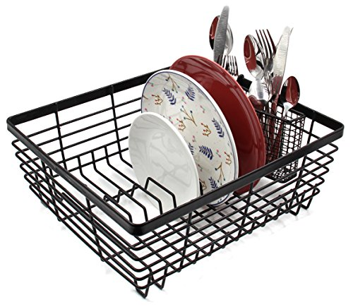 - ESYLIFE Kitchen Dish Drainer Drying Rack with Full-Mesh Silverware Storage Basket, Black