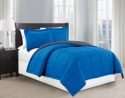 Mk Collection Reversable Blue/grey Down Alternative Comforter Set 3pc Full/queen