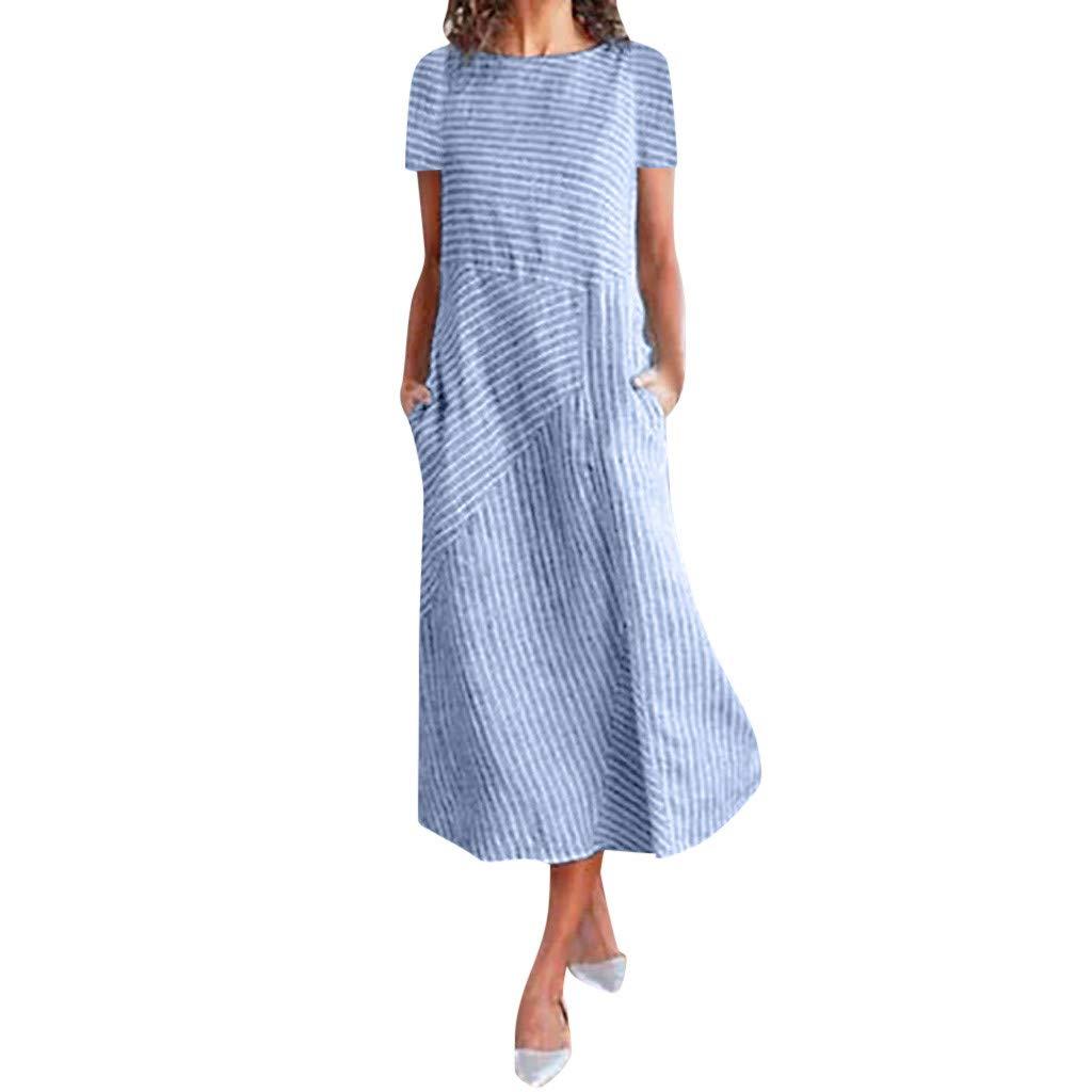 Clearence!! Women's Summer Casual Short Sleeve Dresses SengeiStriped Midi Dress S-3XL (M, Blue) by Sengei