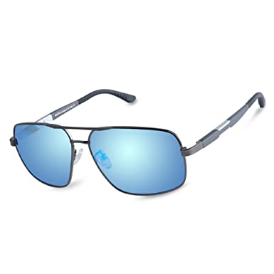 d785450645 Duco Premium Retro Rectangle frame Polarized Sunglasses 100% UV protection  3379 (Gunmetal Frame Revo Blue Lens)  Amazon.co.uk  Clothing