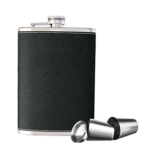 New Scale 8oz Black PU Leather Flask Gift Set Premium in Black Gift Box Pocket Hip Flask 8 Oz with Funnel - 18/8 Stainless Steel and 100% Leak Proof for Discrete Liquor Shot Drinking by New Scale