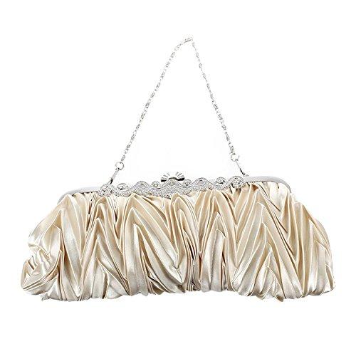 Lady Borsetta - TOOGOO(R) Satin Pleat Avorio Nuziale / sera / partito della frizione borsa con strass stile