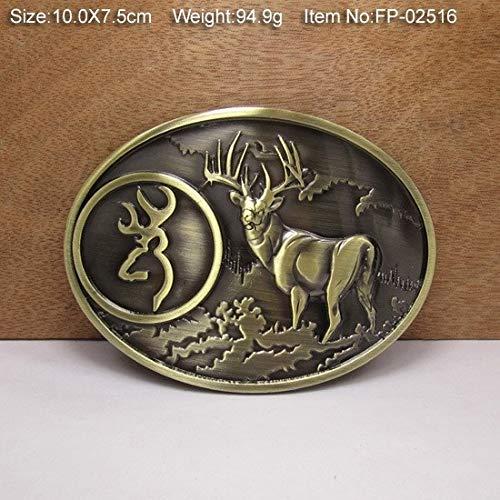 LZLAN Bronze Deer Cowgirls CowboysMetal Belt Buckle Texas Fashion Mens Western Badge Feathers Native