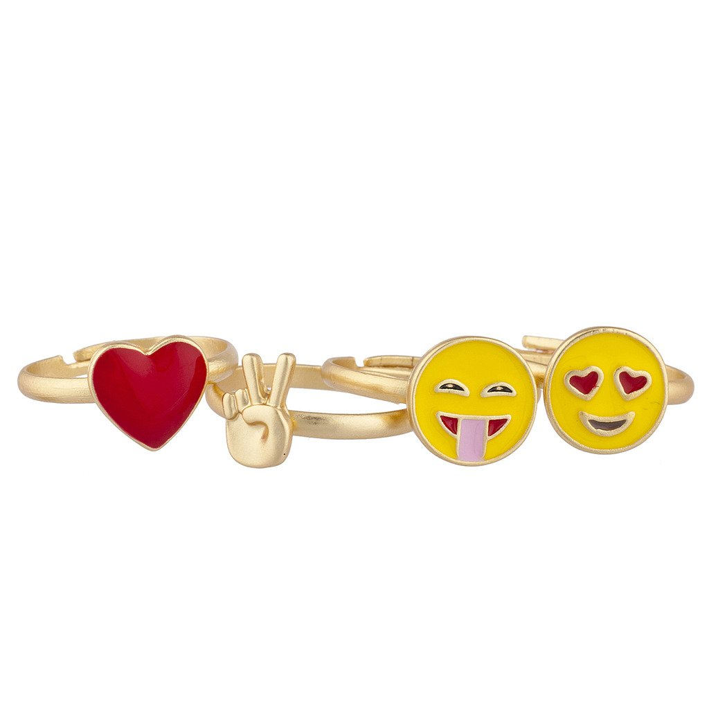 LUX accesorios dorado tono rojo Corazó n Amarillo Emojis sí mbolo de la Paz Multi Anillo Set 4pcs Lux Accessories R259774-1-R286
