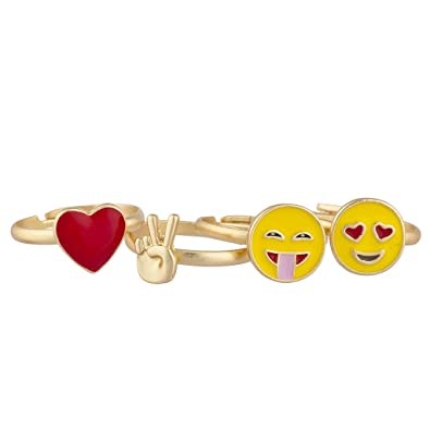 Lux Accessories Gold Tone Red Heart Yellow Emojis Peace Sign Multi