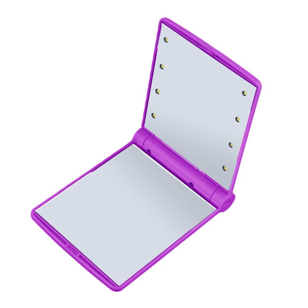 Hrph Rectangle Pliant Portable Miroir de Poche Lumineux 8 LEDs Miroir de Maquillage Cosmétique avec Eclairage LED Pour Travail Voyage