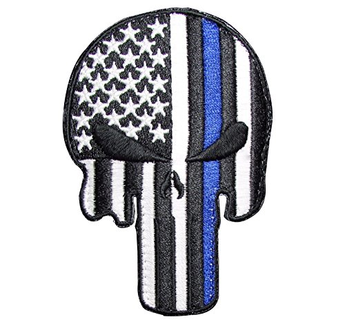 Tenkey Punisher Skull Thin Blue Line USA Flag Police Velcro Glow Patch