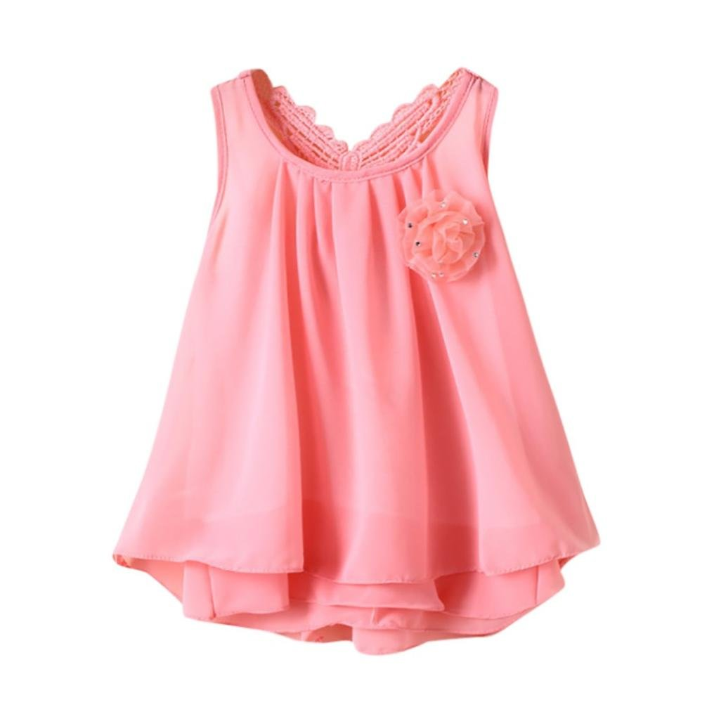 Kobay Summer Cute Baby Girls Solid Flower Butterfly Backless Sleeveless Casual Ball Gown Dress Cotton Clothes Knee-Length
