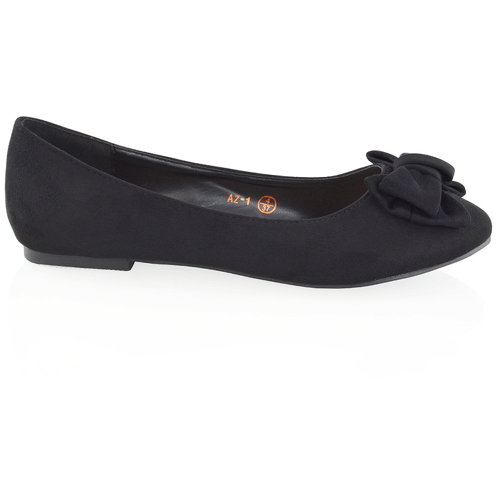 a123966a4fb60 ESSEX GLAM New Womens Flat Pumps Slip On Bow Detail Loafers Ladies Ballet  Ballerina Dolly Shoes: Amazon.co.uk: Shoes & Bags