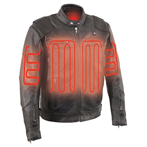 Milwaukee Leather-Men's Vented Scooter Jacket w/ Heated Technology-BATTERY PACK INCLUDED-BLACK-X-LARGE