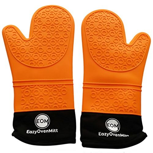 Silicone Oven Mitts- Commercial Grade, Of Extra Long Cotton Quilted Heat Resistant Kitchen Potholders Gloves- 1 pair EazyOvenMitt (Orange)