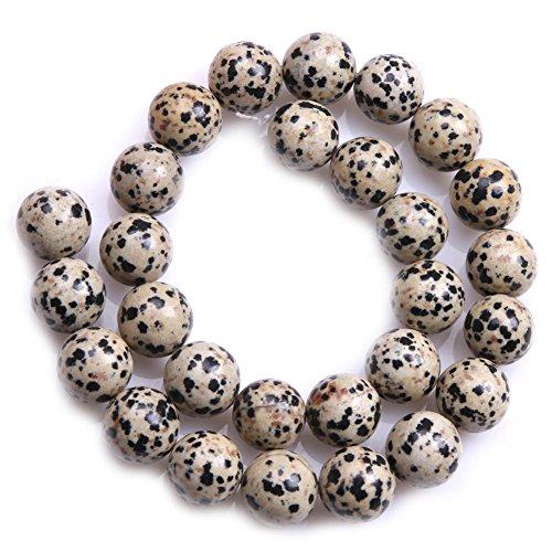 - JOE FOREMAN 14mm Dalmatian Dalmation Jasper Semi Precious Gemstone Round Loose Beads for Jewelry Making DIY Handmade Craft Supplies 15